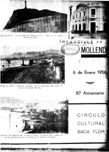 Mollendo 6 de Enero del 1958 - 87° aniversario Circulo Cultural Carlos Baca Flor