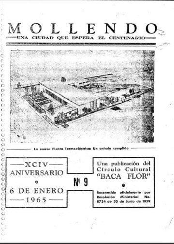 Mollendo Una Ciudad que Espera el Centenario XCIV Aniversario 6 de Enero 1965 N°9