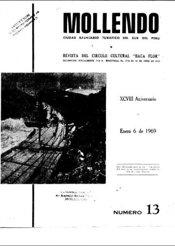 Mollendo Ciudad Balneario Turístico del Sur del Perú XCVIII Aniversario 6 de Enero 1969 N°13