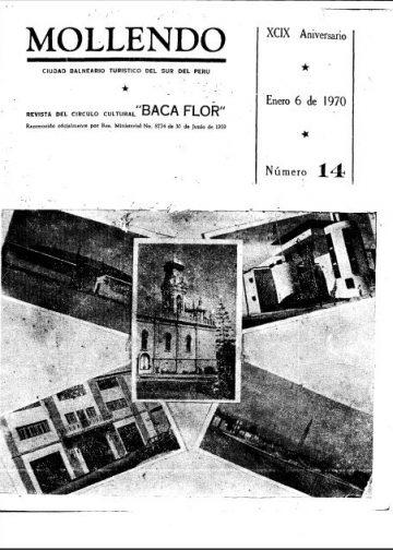Mollendo Ciudad Balneario Turístico del Sur del Perú XCIX Aniversario 6 de Enero 1970 N°14