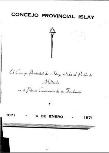 Consejo Provincial de Islay Primer Centenario de su Fundación 1871 - 6 de Enero - 1971