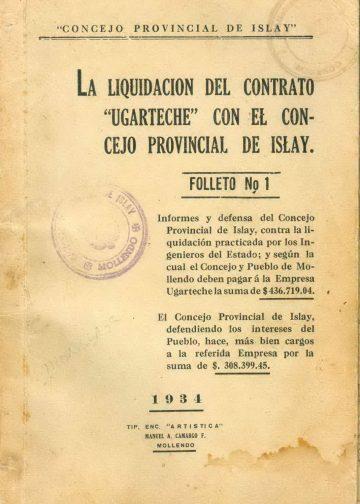 """La liquidación del contrato """"Ugarteche"""" con el Concejo Provincial de Islay - Folleto 1"""
